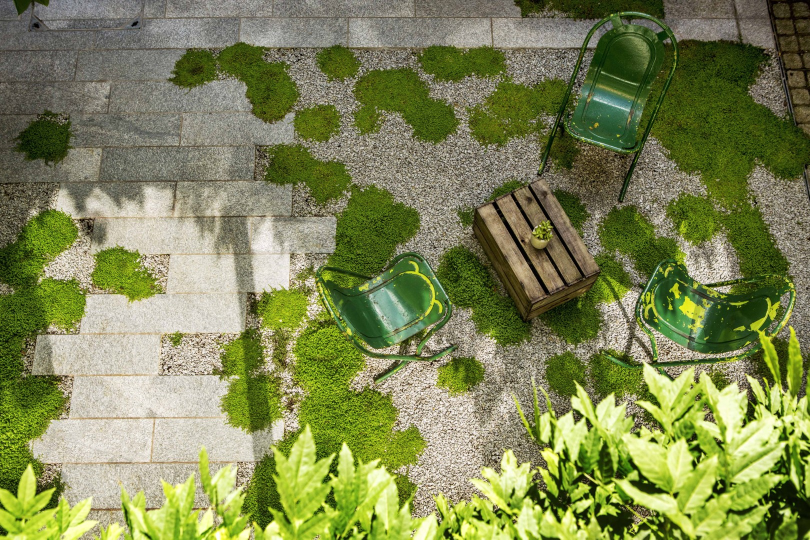 Green chairs in garden