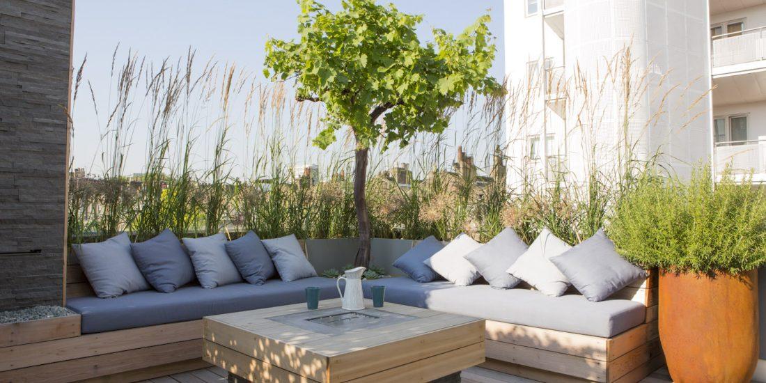 corner seating in garden